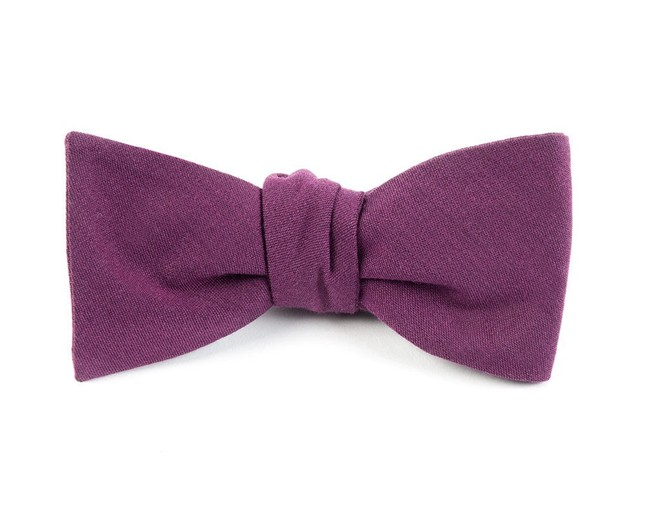 Solid Wool Wine Bow Tie