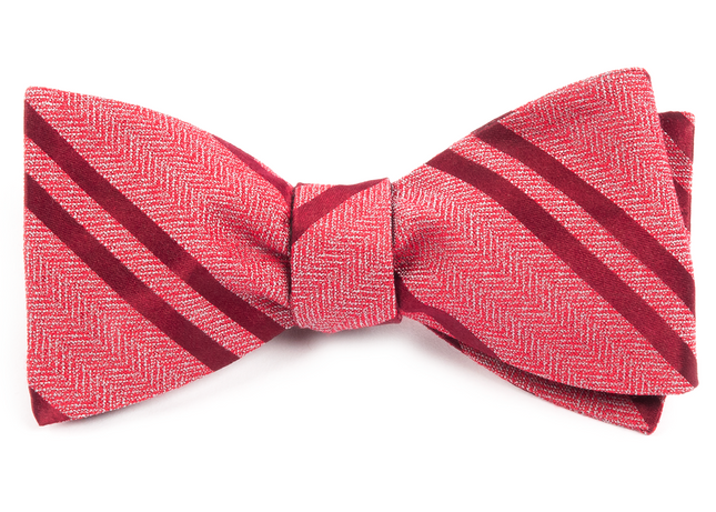 Wool Path Stripe Red Bow Tie