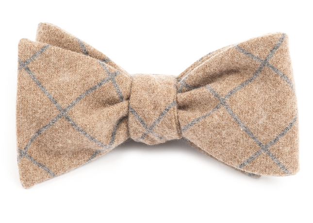 Printed Flannel Pane Mustard Bow Tie