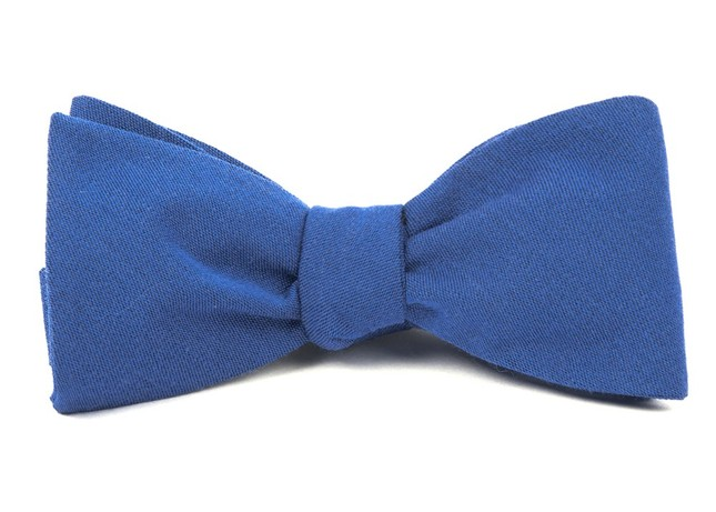 Solid Wool Classic Blue Bow Tie