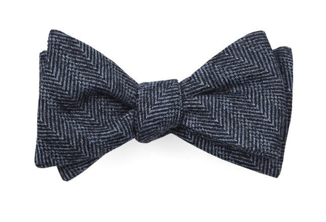 Blue Ridge Herringbone Midnight Navy Bow Tie