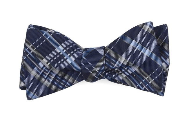 Andersen Plaid Navy Bow Tie