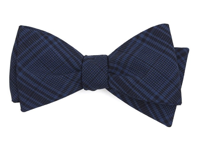 Blue Sole Plaid Navy Bow Tie
