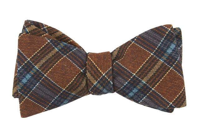 Pittsfield Plaid Burnt Orange Bow Tie