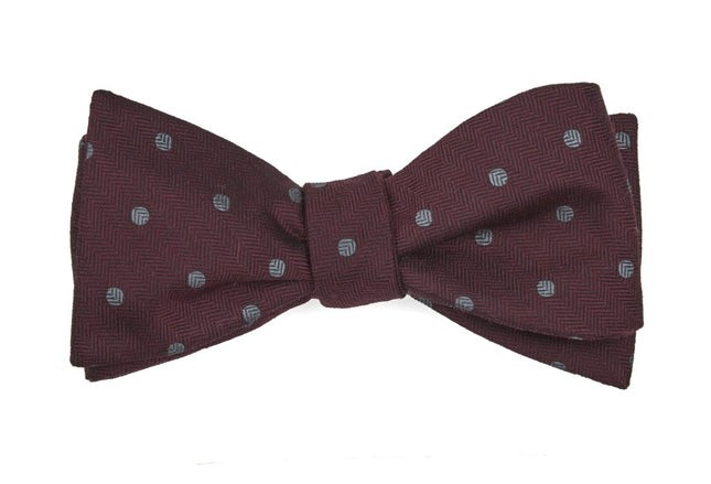 Dotted Hitch Burgundy Bow Tie
