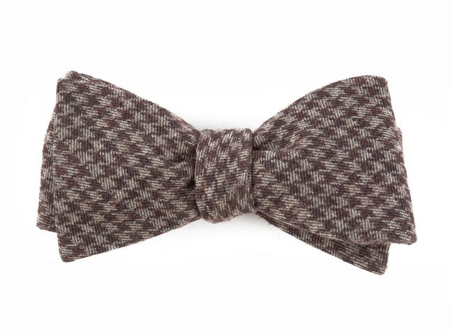 Brushed Cotton Houndstooth Brown Bow Tie