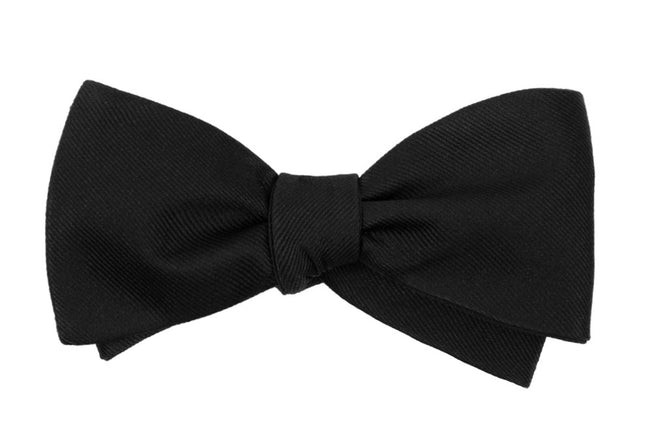 Grosgrain Solid Black Bow Tie