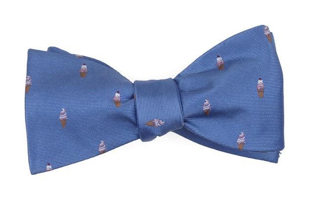 Ice Cream Cones Light Blue Bow Tie