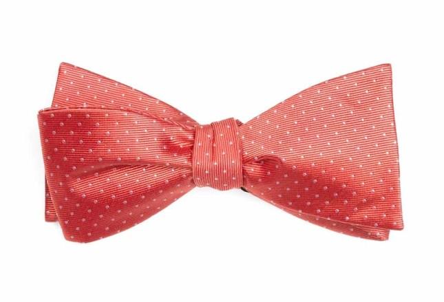 Mini Dots Coral Bow Tie