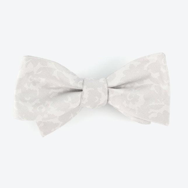 Refinado Floral Silver Bow Tie