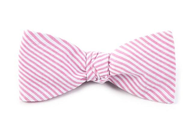 Seersucker Pink Bow Tie