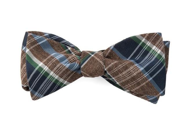 Three Lakes Plaid Brown Bow Tie