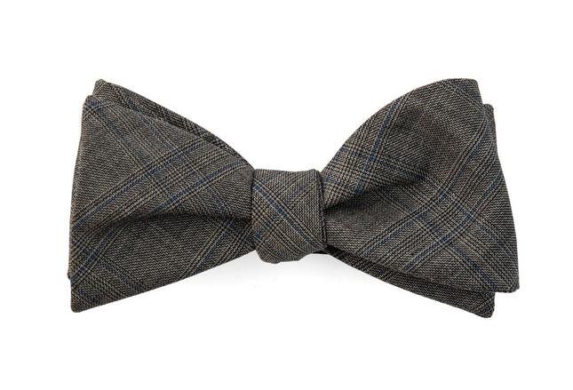 Cord Plaid Grey Bow Tie