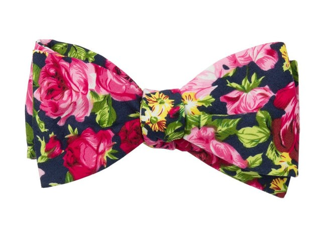 Rosebush Floral Navy Bow Tie