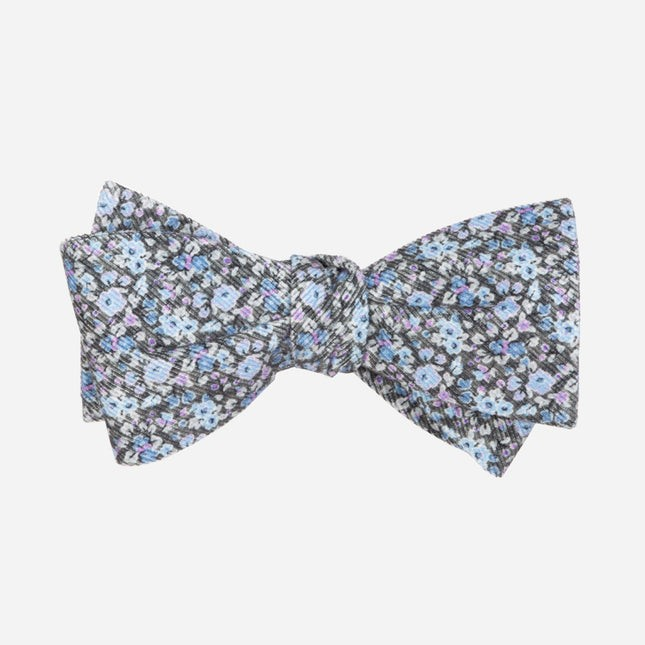 Corduroy Freesia Floral Charcoal Bow Tie