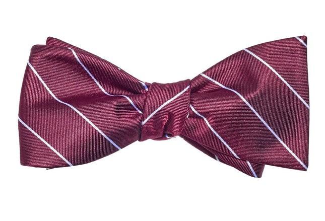 Pencil Glimmer Pinstripe Burgundy Bow Tie