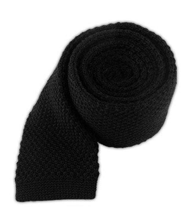 Knit Solid Wool Black Tie