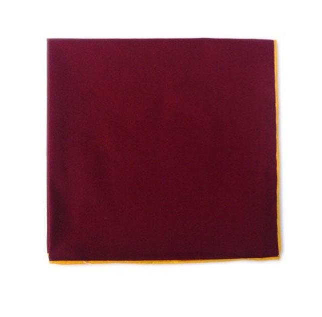Solid Color Cotton With Border Crimson Pocket Square
