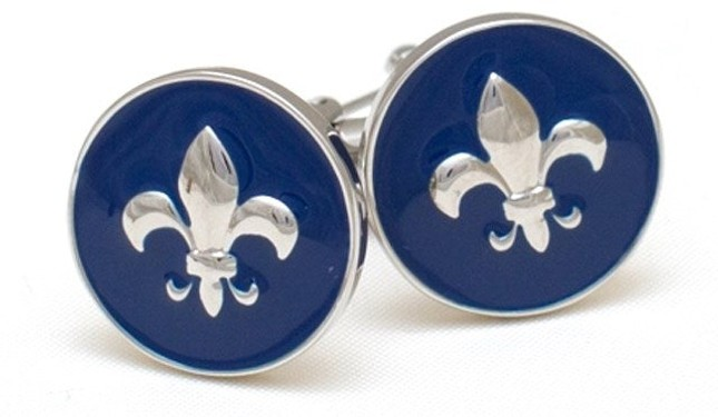 Plated Fleur De Lis Navy Cufflinks