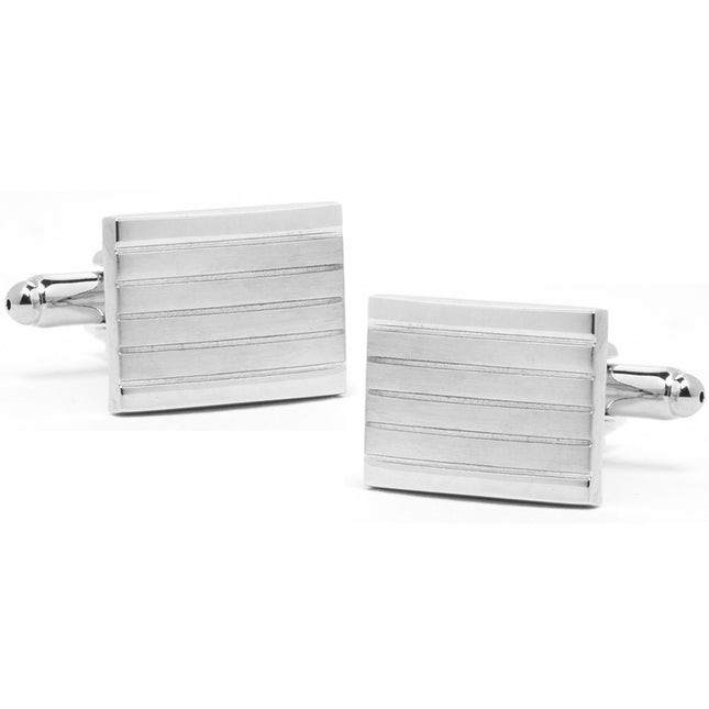 Traced Lines Silver Cufflinks