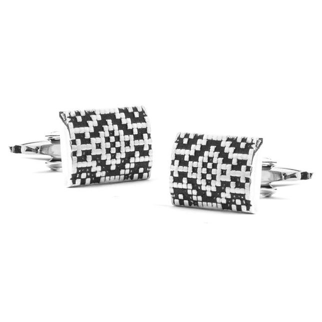 Aztec Assembly Silver Cufflinks