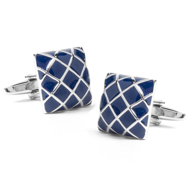 Silver Structure Blue Cufflinks
