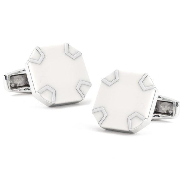 White Wheel Silver Cufflinks