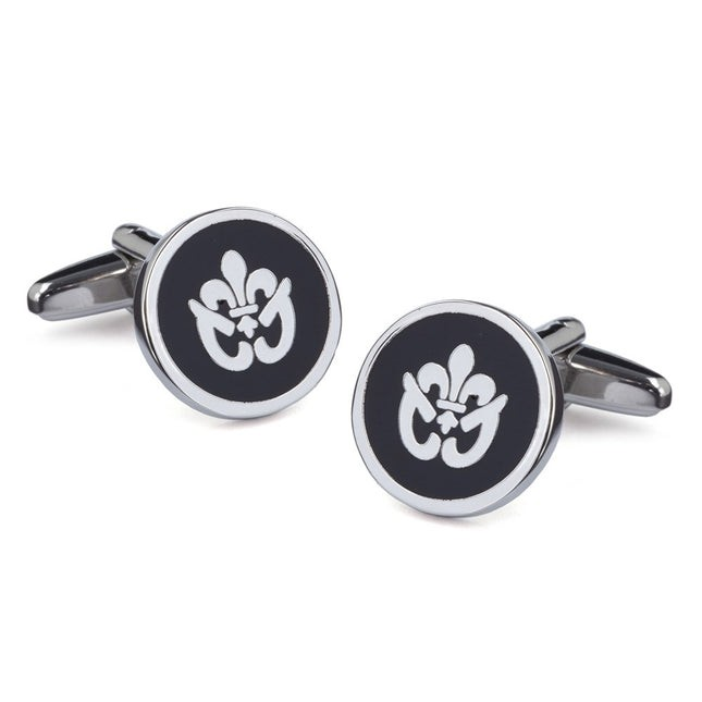 Fancy Fleur De Lis Black Cufflinks