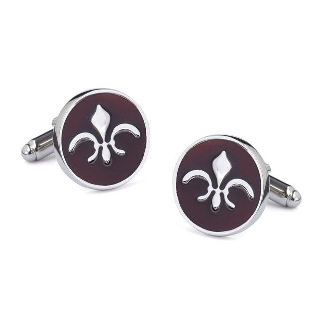 Oval Fleur De Lis Burgundy Cufflinks