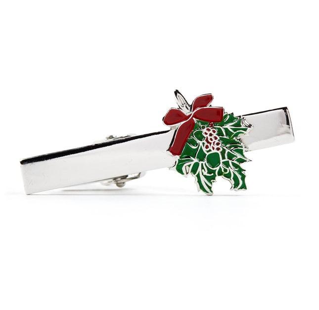 Mistletoe Silver Tie Bar