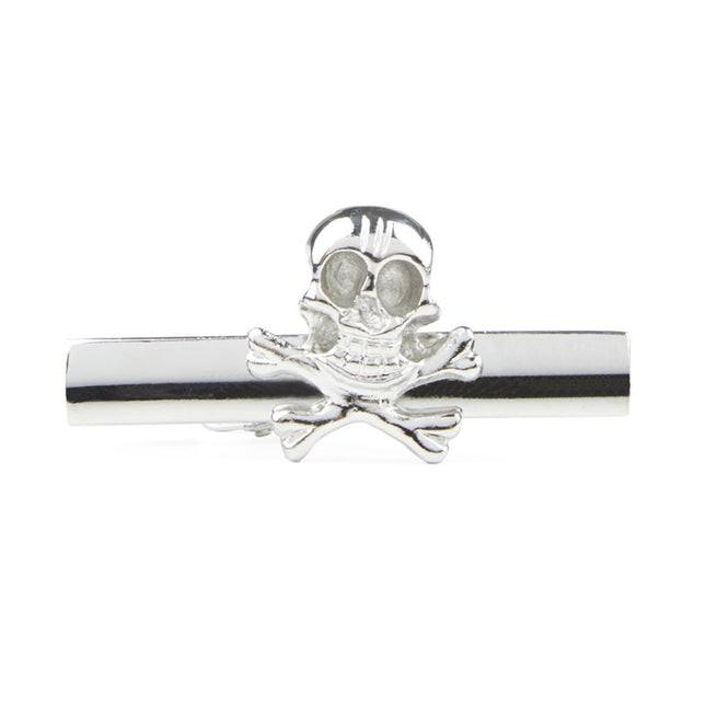 Skull And Crossbones Silver Tie Bar