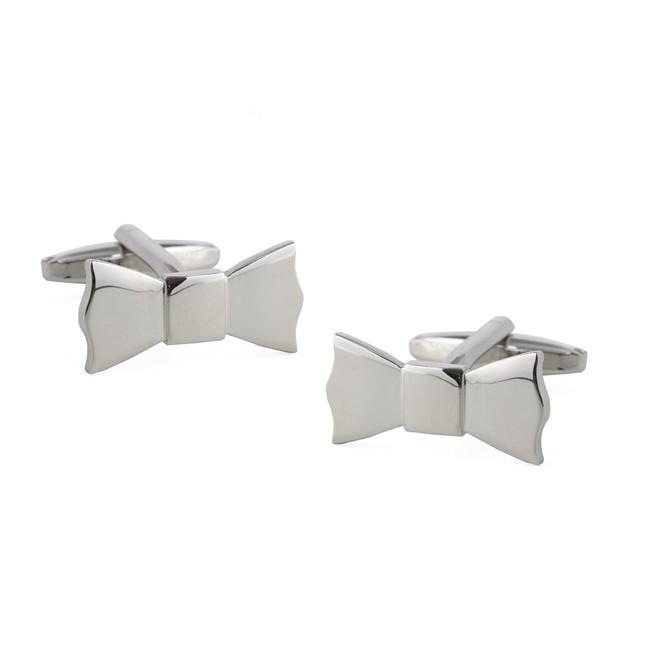 Bow Tied Silver Cufflinks