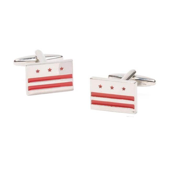 Washington Dc Flag Silver Cufflinks