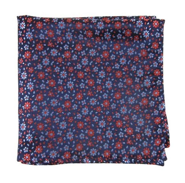 Milligan Flowers Navy Pocket Square