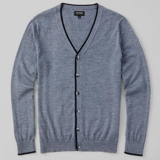 Perfect Tipped Merino Wool Cardigan Heather Grey Sweater