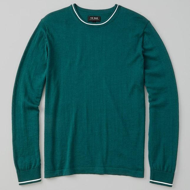 Perfect Tipped Merino Wool Crewneck Green Sweater