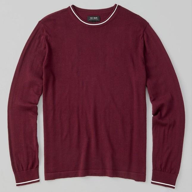 Perfect Tipped Merino Wool Crewneck Burgundy Sweater