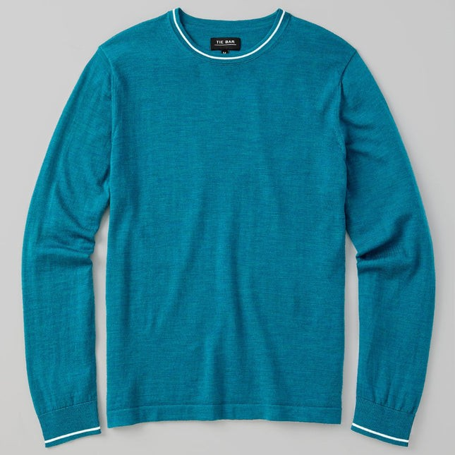 Perfect Tipped Merino Wool Crewneck Teal Sweater