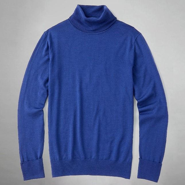Perfect Merino Wool Blue Turtleneck Sweater
