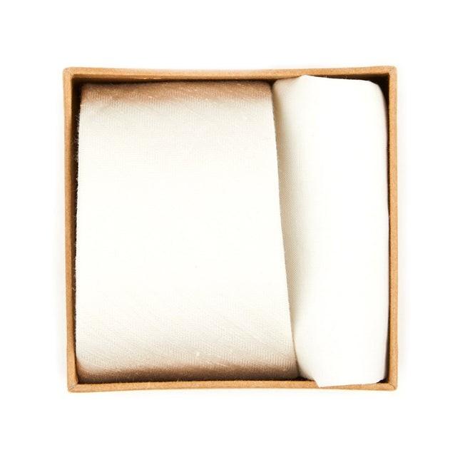 Linen Row Tie Box Ivory Gift Set