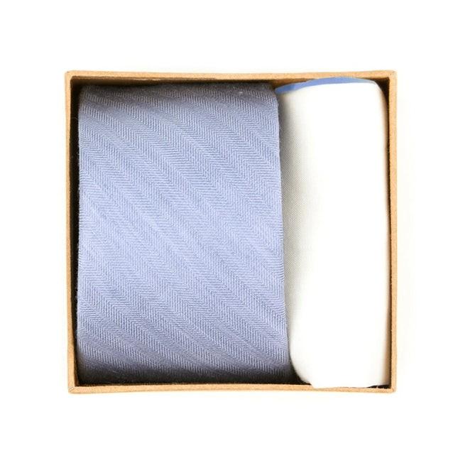 Linen Row Tie Box Sky Blue Gift Set