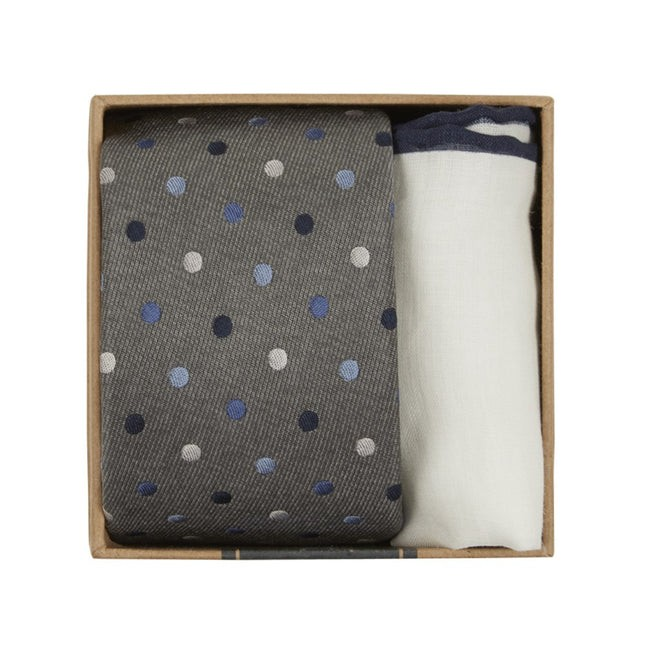 Spree Dots Tie Box Grey Gift Set