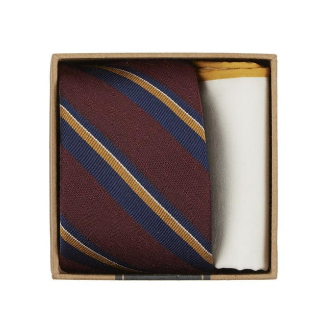 Social Stripe Tie Box Burgundy Gift Set