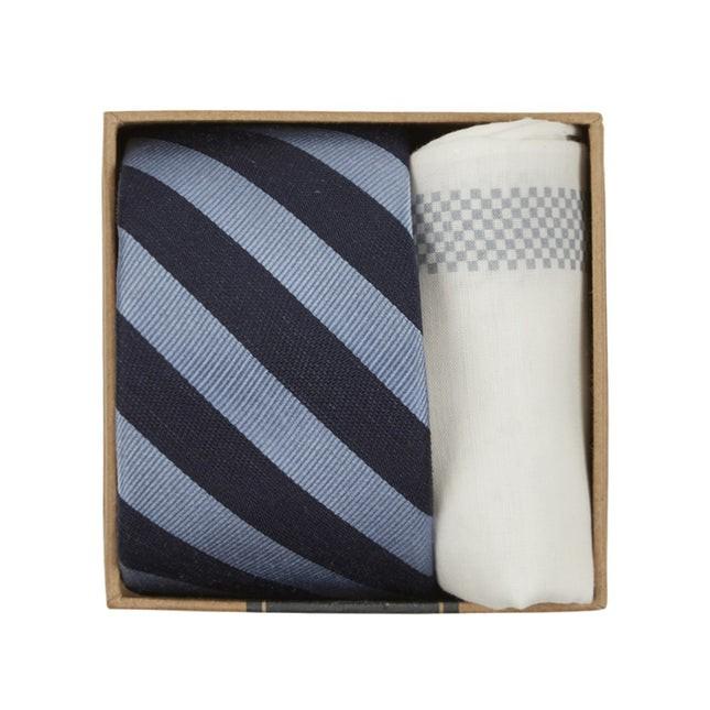 Lumber Stripe Tie Box Light Blue Gift Set