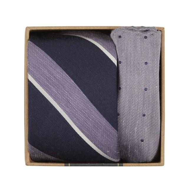 Patina Stripe Tie Box Lilac Gift Set