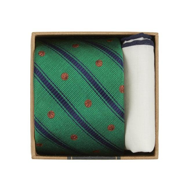 Basketball Stripe Tie Box Kelly Green Gift Set