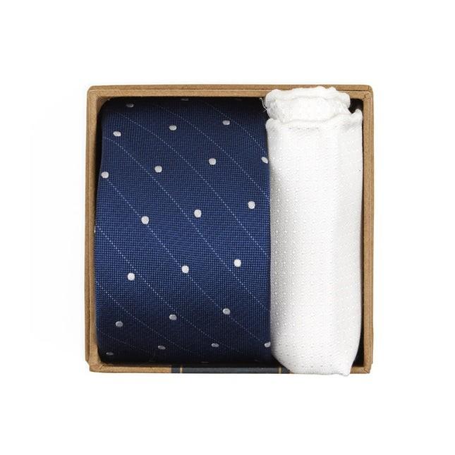 Ringside Dots Tie Box Classic Blue Gift Set