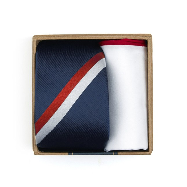 Ad Stripe Tie Box Classic Navy Gift Set
