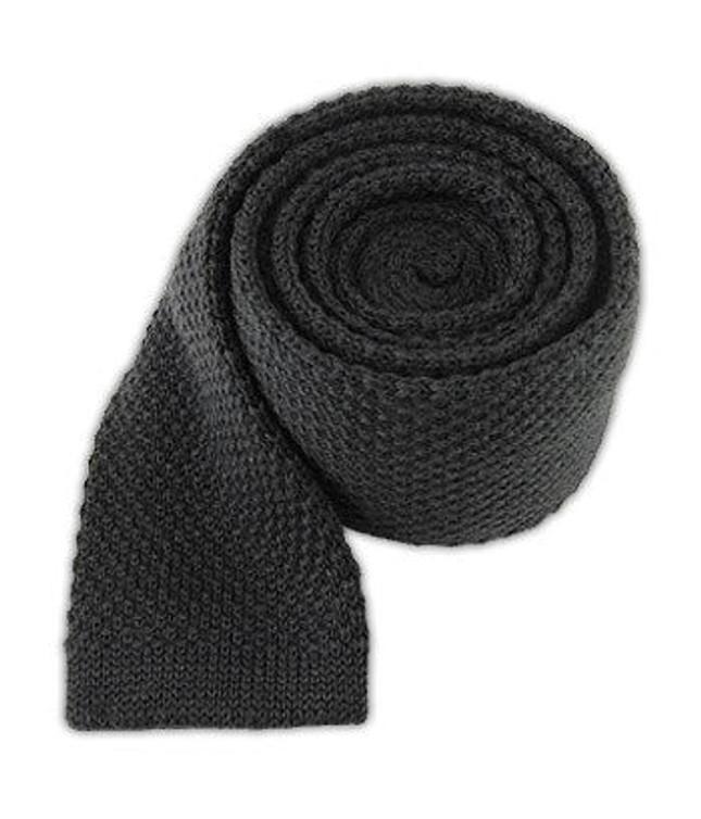 Knit Solid Wool Graphite Tie