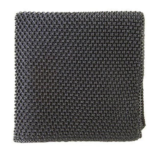 Solid Knit Grey Pocket Square